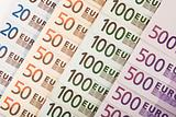 European currency banknotes background