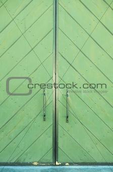 Green door of a building