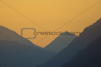 Sunset in the mountains in Austria