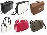 Collage of isolated handbags