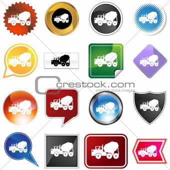 Cement Truck Icon Set