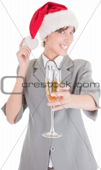 business girl in Santa hat and with champagne
