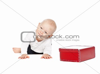 A boy and his red lunchbox