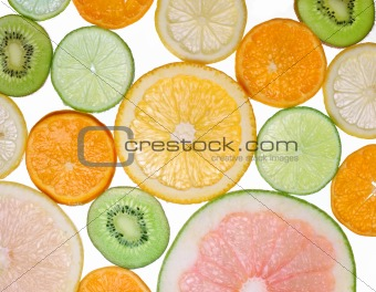 Brighten citrus slices  on a white