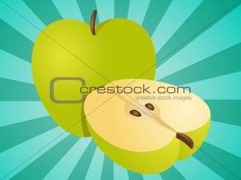 Apple whole and half illustration