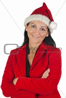 Beautiful girl with with Santa Claus hat