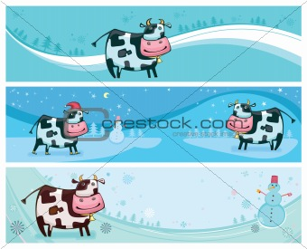 Cute friendly cow banners.