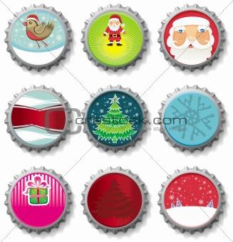 Christmas bottle caps buttons