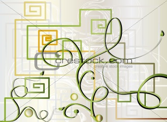 Abstract background with flowers and shapes