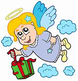 Flying angel with gift