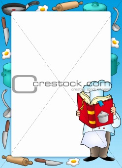 Frame with chef and book