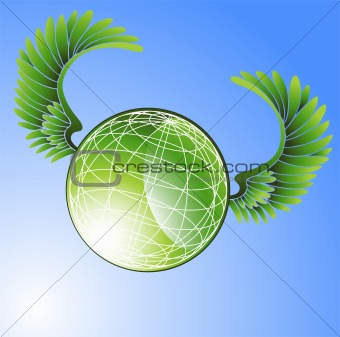 Green Globe with Wings
