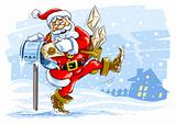 happy Santa Claus postman with Christmas letters