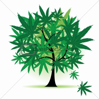 Art tree fantasy, cannabis leaf
