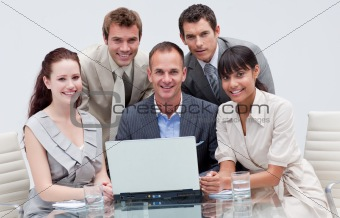 Multi-ethnic business team working together in an office