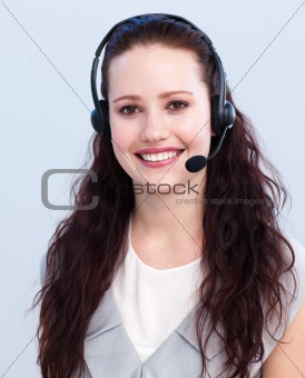 Portrait of beautiful woman working in a call center
