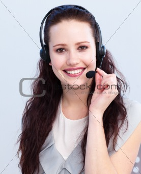Smiling beautiful woman with a headset on