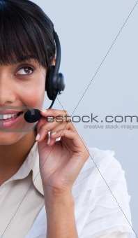 Portrait of an ethnic businesswoman working in a call center