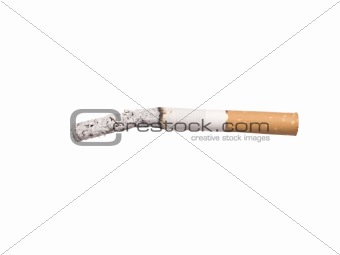 Lit cigarrette with ashes