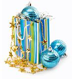 Christmas holiday decoration with blue balls and gold stars