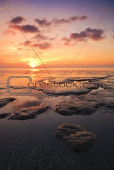 Beautiful tranquil sunset over the ocean