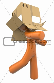3d Orange Man With Box On Head