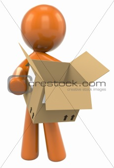 3D Orange Man Carrying Box