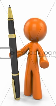 3D Orange Man Standing Upright With Ball Point Pen