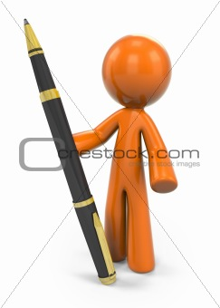 3D Orange Man Holding Ball Point Pen