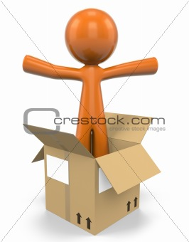 3D Orange Man Popping Out Of A Box