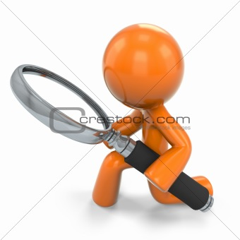 3D Orange Man Kneeling Down With A Magnifying Glass