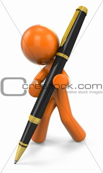 3D Orange Man Writing With Pen