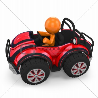 3D Orange Man In Dune Buggy