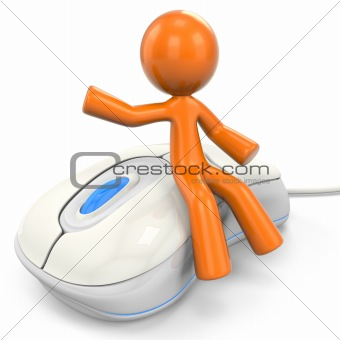 3D Orange Man Sitting On Computer Mouse
