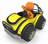 3D Orange Man Sitting In Sports Vehicle/Car
