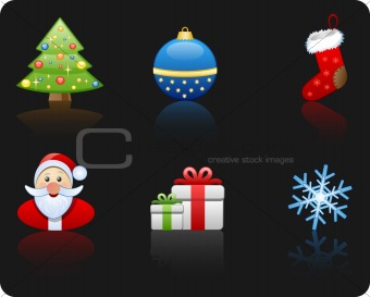 Christmas black background icon set