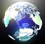 Translucent glowing world globe
