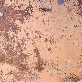 Structure of concrete wall covered brown peeled off paint and di
