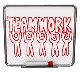 Teamwork on Dry Erase Board with Team Members