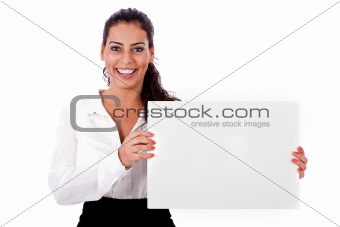 American business woman holding a white blank board