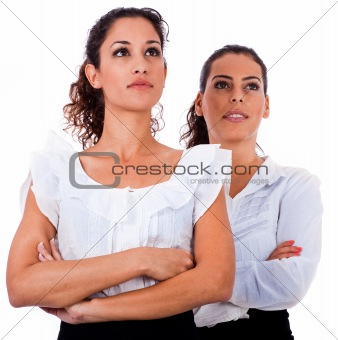 Close up portrait of young business women's with their hands fol