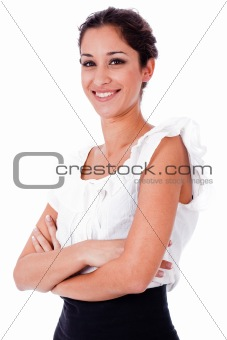 Close up portrait of happy business woman with his hands folded