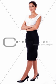 Casual portrait of young business woman with his hands folded