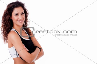 portrait of happy fitness woman with his hands folded