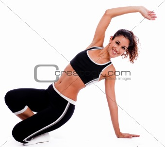 Fitness woman stretching her hand