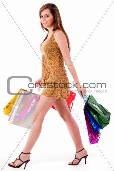 Beautiful girl enjoyed her shopping