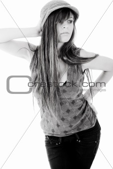 Beauty model with a long hair posing at the left corner