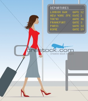 airport travel woman