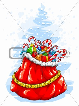 Red Santa Claus' sack with Christmas gifts