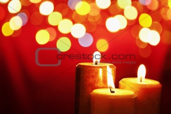 Christmas candle with blurred light